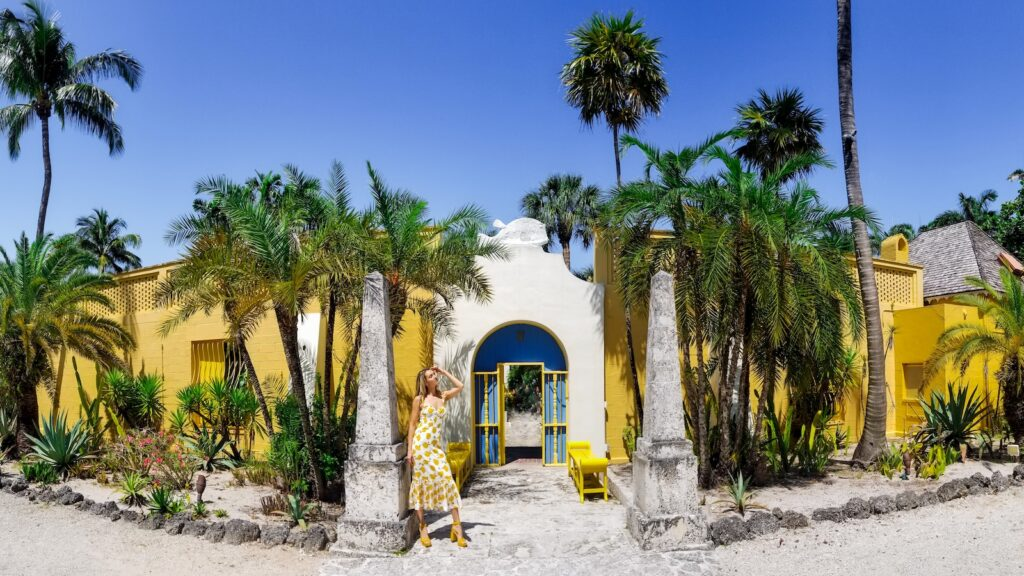 lush landscaped front entrance of the Bonnet House in Fort Lauderdale, Florida