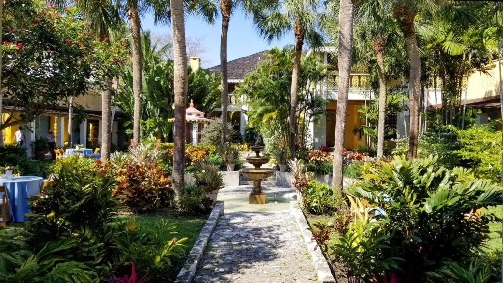 luscious courtyard and fountain inside the bonnet house plantation