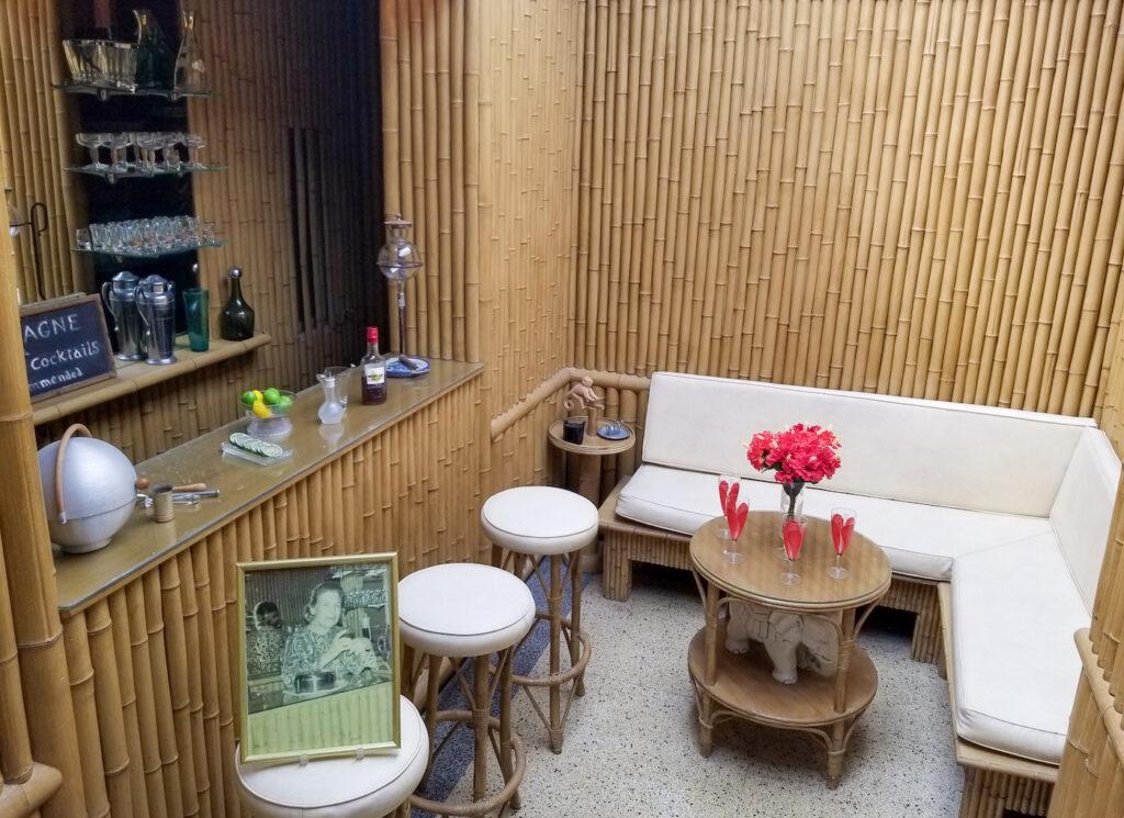 Bamboo tiki bar originally designed by Evelyn Bartlett